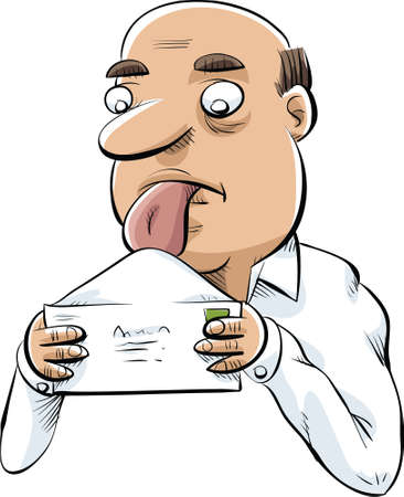 A cartoon man licking and envelope to mail. Ilustração