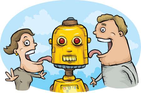 A happy cartoon couple licks a robot made of gold.