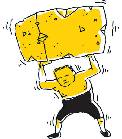 heavy: A cartoon strongman lifts a huge, heavy block.
