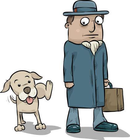 pee: A cartoon dog pees on the leg of a businessman.