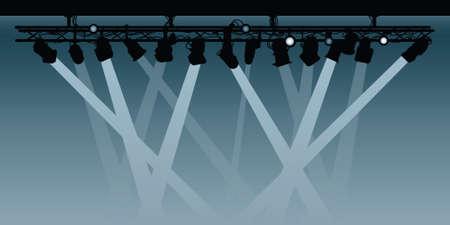 spotlight: Silhouette rig of spotlights shining their beams.