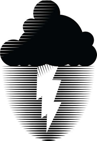 rainstorm: Black and white icon of a storm cloud with lightning. Illustration
