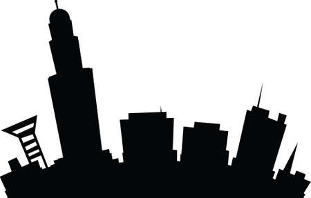 lincoln: Cartoon skyline silhouette of the city of Lincoln, Nebraska, USA.