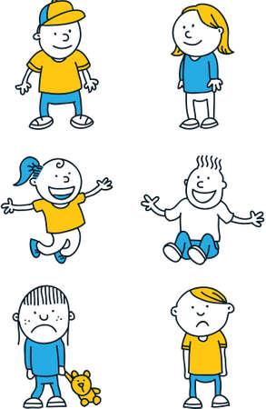 simple: A cartoon set of simple cartoon children.