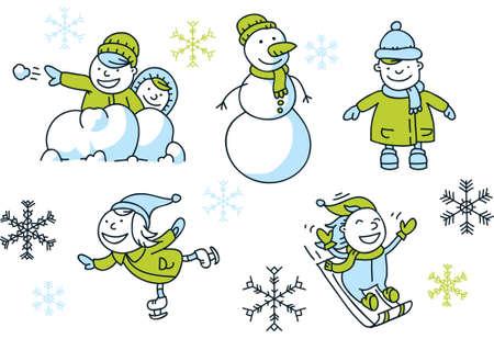 A cartoon set of simple cartoon children having winter fun. Ilustracja