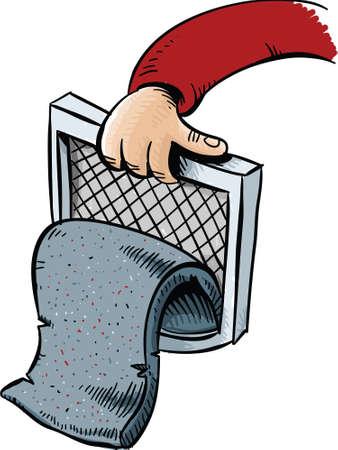 漫画糸くずのパッドは乾燥機のトラップから引き出されます。  イラスト・ベクター素材