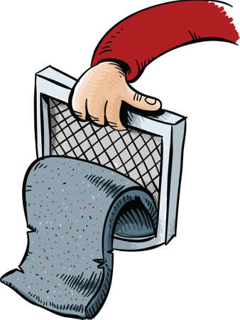 pulled: A pad of cartoon lint pulled from the trap of a dryer.  Illustration