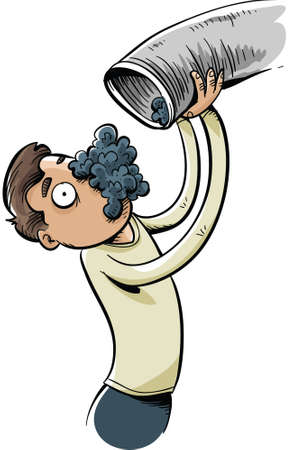 vent: A huge pile of lint falls out of a vent pipe and on to a cartoon mans face.