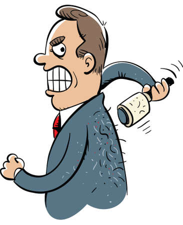 A cartoon businessman struggles to use a lint roller on his back. Illustration