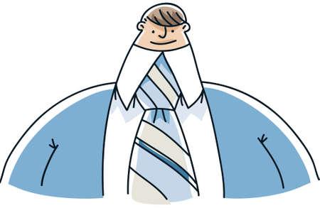 A friendly, cartoon businessman with a tiny head. Иллюстрация