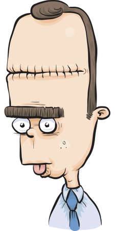 stitched: A dazed cartoon man with a lobotomy scar.