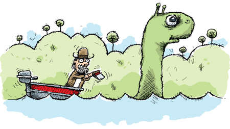 A mean cartoon man hunting the Loch Ness Monster with an ax.