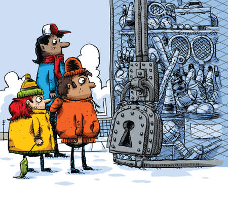 locked up: Cartoon kids find that the winter sports equipment has been locked up. Illustration