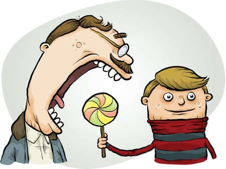 oblivious: A cartoon man attempts to eat a boys lollipop.
