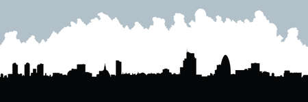 business district: Skyline silhouette of the city of London, UK. Illustration