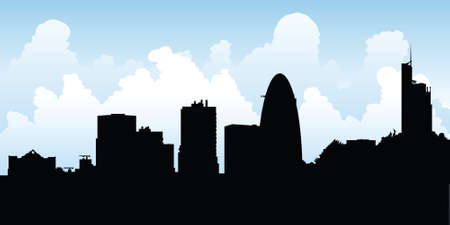 Skyline silhouette of the city of London, UK. Illustration