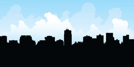 business district: Skyline silhouette of the city of London, Ontario, Canada. Illustration
