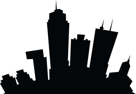 business district: Cartoon skyline silhouette of the city of London, Ontario, Canada. Illustration