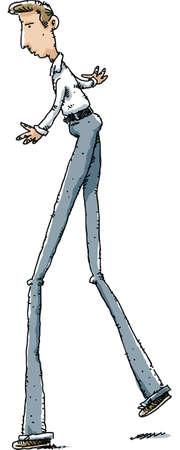 stilts: A cartoon man with really long legs.
