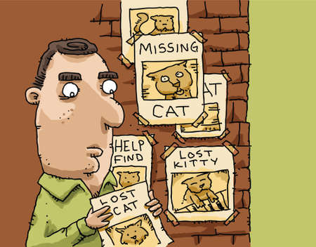 A cartoon man posts a flyer with others seeking lost cats.