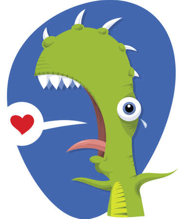 A cartoon alien talking about looking for love. Vector