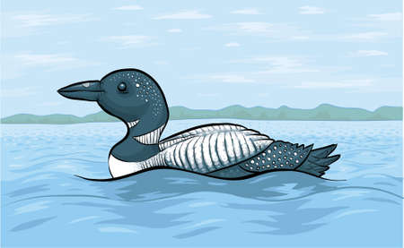 waters: A cartoon loon on the waters of a clam lake.