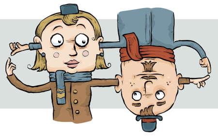 A cartoon couple produce a lop by running their arms through one anothers heads.