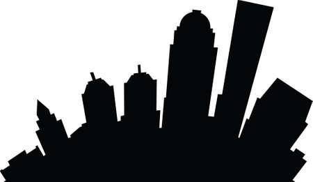 business district: Cartoon skyline silhouette of the city of Louisville, Kentucky, USA.
