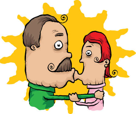 A cartoon couple caught kissing. Ilustrace