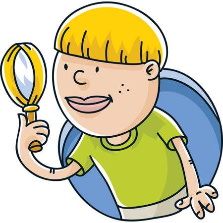 A cartoon boy looking through his magnifying glass.