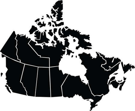 Chunky,cartoon map of Canada.