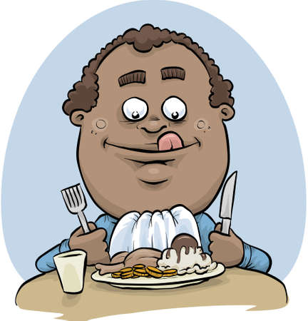 hearty: A cartoon man enjoying a hearty dinner of meat and mashed potatoes.