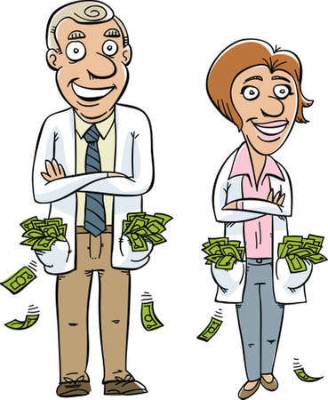 Two cartoon doctors with pockets overflowing with money. Vector
