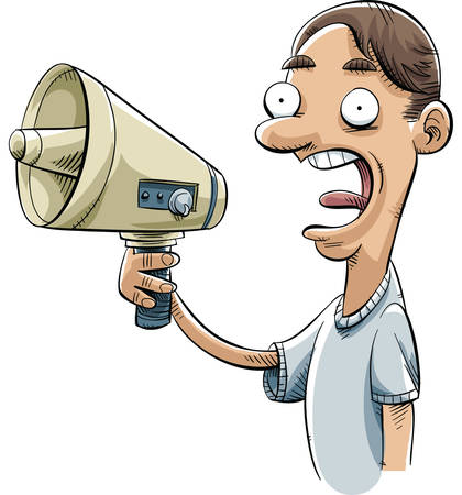 loudspeaker: A cartoon man shouts into his electric megaphone.