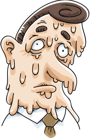 sick people: A cartoon man with a melting face.
