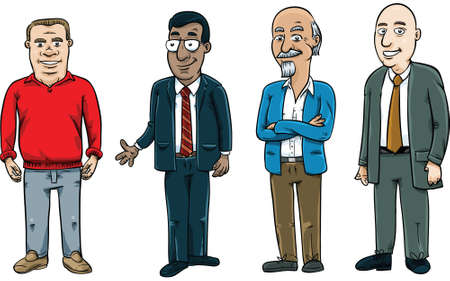 A set of friendly, cartoon men.