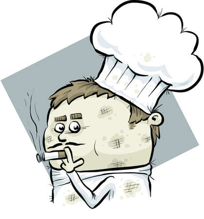 A messy cartoon chef smoking a cigarette. Reklamní fotografie - 29634275