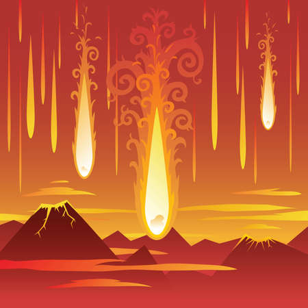 Cartoon meteors fall on a primordial landscape.