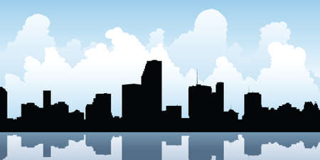 business district: Skyline silhouette of the city of Miami