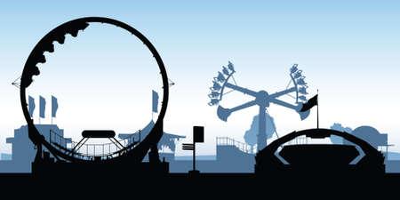 amusement park rides: Silhouettes of amusement park rides. Illustration