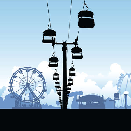 chairlift: Silhouette of a chairlift ride in an amusement midway.