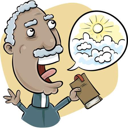 minister: A cartoon church minister preaches a vision of Heaven.