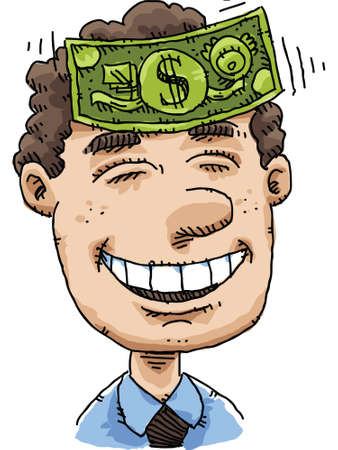 forehead: A cartoon man enjoys the feeling of cash on his forehead.