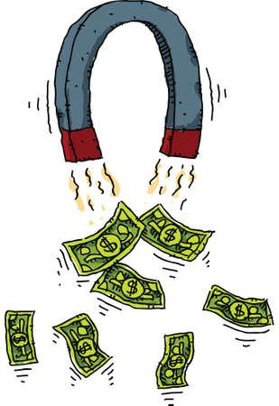 geld: Een cartoon magneet die geld aantrekt.