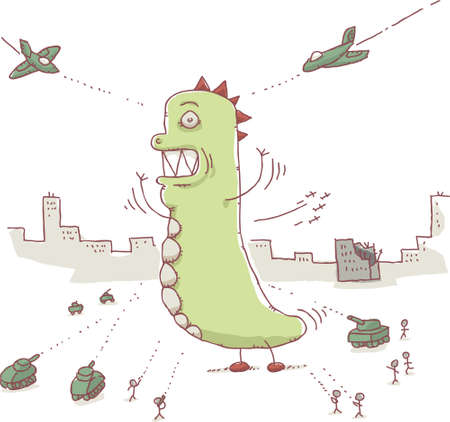 A giant cartoon monster attacks a city and battles the military. Vector
