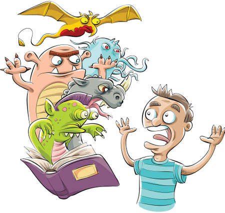 Cartoon monsters jump from the pages of a teenagers book. Vector