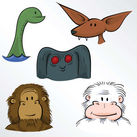 classic monster: A cartoon set of classic monster faces.