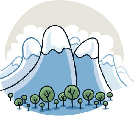 Cartoon mountains curve up towards the sky.