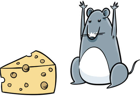 A cartoon mouse celebrates after finding cheese.
