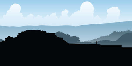 old ruin: Silhouette of pyramid ruins at Monte Alban, Mexico. Illustration